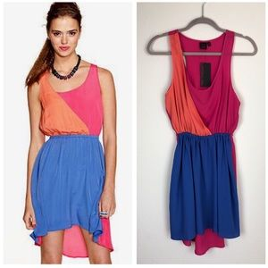 NEW Material Girl color block high low dress